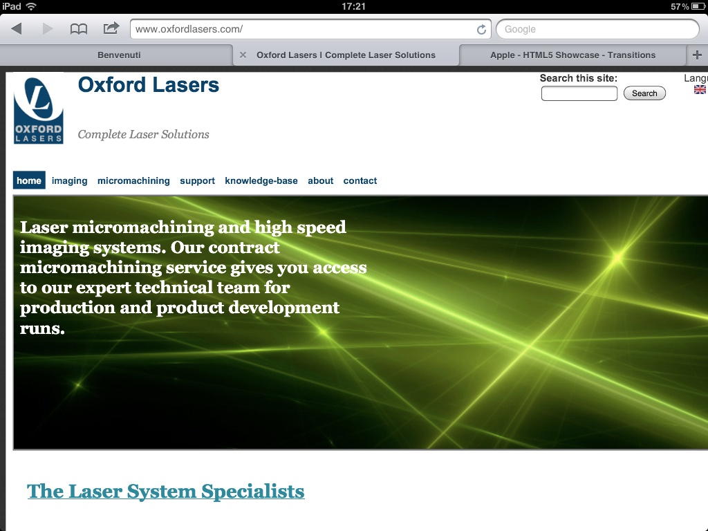 Oxford Lasers Website